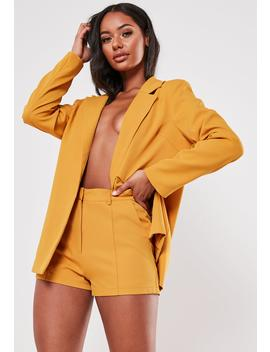 Mustard Co Ord Seam Detail Tailored Shorts by Missguided