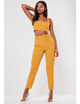 Mustard Co Ord Seam Detail Cigarette Pants by Missguided