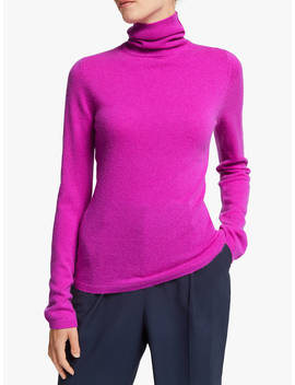John Lewis & Partners Roll Neck Cashmere Jumper, Magenta by John Lewis & Partners