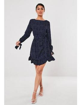 Ruched Side Tea Dress Polka by Missguided