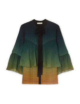 Milana Tie Neck Tiered Printed Silk Chiffon Blouse by Mary Katrantzou