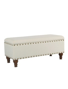 Large Storage Bench With Nailhead Trim   Home Pop by Home Pop