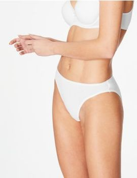 5 Pack Cotton Rich High Leg Knickers With New &Amp; Improved Fabric by Marks & Spencer