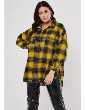 Plus Size Yellow Oversized Check Shirt by Missguided