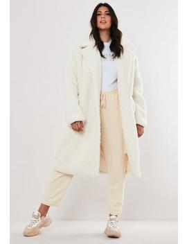 Plus Size White Borg Long Coat by Missguided