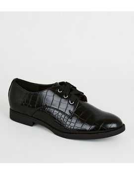 Wide Fit Black Faux Croc Lace Up Shoes by New Look