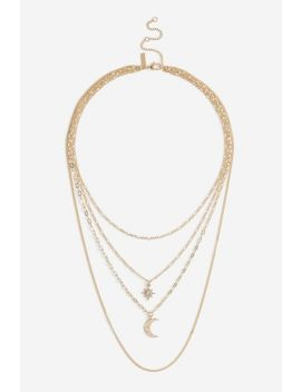 **Star And Moon Multirow Necklace by Topshop