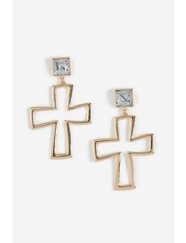 **Open Cross Drop Earrings by Topshop