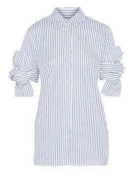 Knotted Striped Cotton Poplin Shirt by Victoria, Victoria Beckham