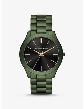 Oversized Slim Runway Olive Tone Watch by Michael Kors