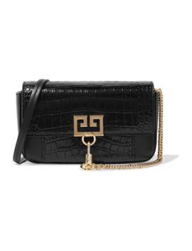 Pocket Croc Effect Leather Shoulder Bag by Givenchy