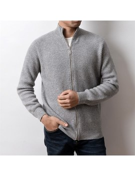 100% Goat Cashmere Pineapple Grain Knit Men Smart Casual Zipper Cardigan Sweater Coat S 2 Xl by Ali Express.Com
