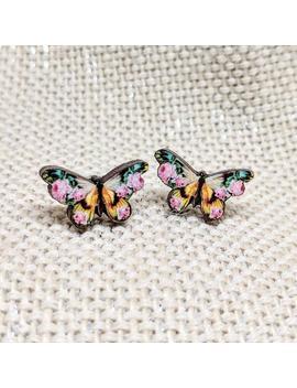 Butterfly Earrings / Butterfly Studs / Flower Butterfly / Flower Studs / Hypoallergenic / Tiny Butterfly Studs / Mini Butterfly Earrings by Etsy