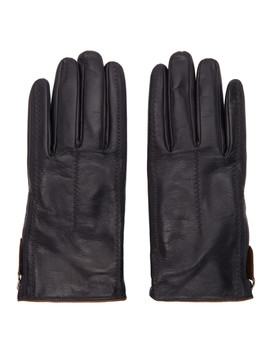 Black Leather Gloves by Giorgio Armani