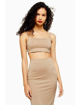 Stone Ribbed Bralet And Skirt Set by Topshop