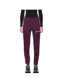 Purple & White Slim Lounge Pants by Palm Angels
