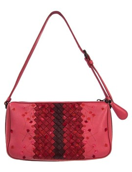 Intrecciato Women's Handbag Bordeaux / Red / Rose Pink Leather Satchel by Bottega Veneta