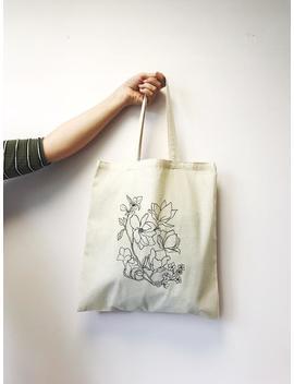Floral Tote Bag   Eco Tote Bag   Floral Illustration   Eco Friendly Shopper   Botanical Plants Canvas Tote Bag   Plant Tote Bag by Etsy