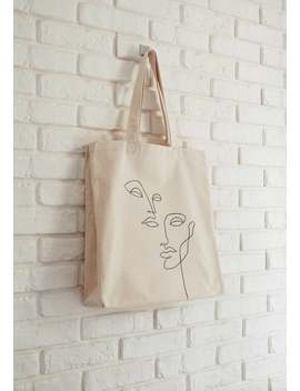 Handpainted Cotton Canvas Tote Bag, Reusable Eco Friendly Shopper, Big Capacity, Simple Faces Lineart by Etsy