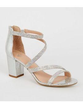 Girls Silver Glitter Diamante Block Heels by New Look