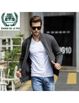 Zhan Di Ji Pu Brand Clothing Men Stand Collar Fleece Liner Super Keep Warm Winter Sweaters Fashion Outwear Sweatercoat Men 108 by Ali Express.Com