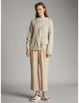 MoulinÉ Sweater With Front Cable Knit Detail by Massimo Dutti