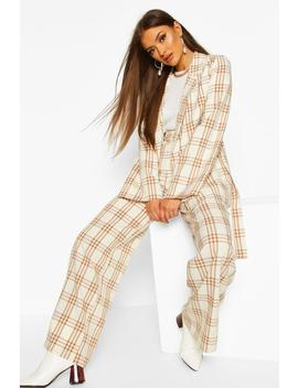 Wide Leg Checked Trouser by Boohoo