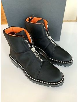 Alexander Wang Cooper Canvas Black Pull On Zip Studded Ankle Booties Boots 6.5 by Alexander Wang