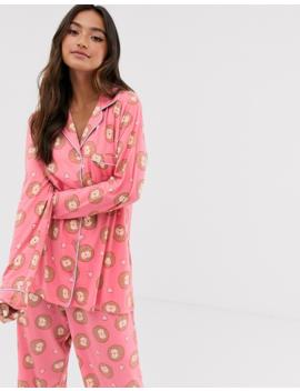 Chelsea Peers – Langes Pyjama Set Mit Igel Print by Asos