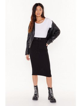 Draw 'em In Jersey Midi Skirt by Nasty Gal