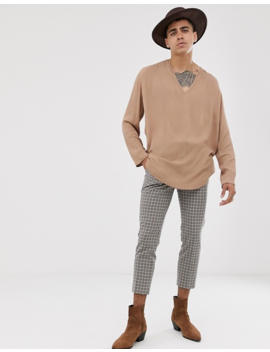 Asos Design Regular Fit Overhead Shirt With Crinkle In Tan by Asos Design