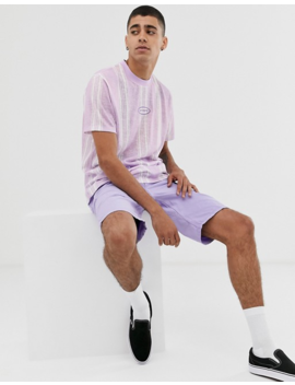 Asos Design Relaxed T Shirt With Textured Stripe And Chest Embroidery by Asos Design