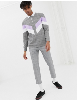 Asos Design Relaxed Long Sleeve Woven Check Polo With Color Block Panels And Zip Neck by Asos Design
