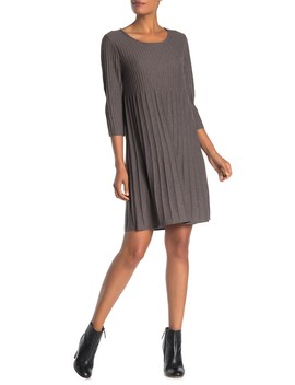 Scoop Neck 3/4 Sleeve Wool Sweater Dress by Eileen Fisher