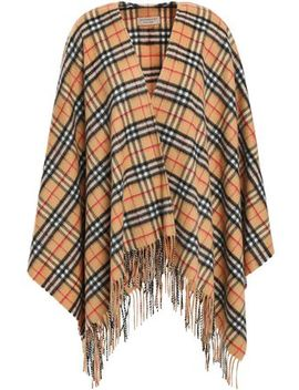 Fringe Trimmed Cashmere Wrap by Burberry
