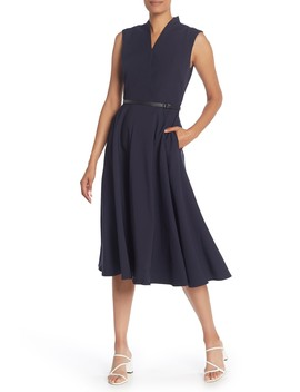 Surplice Sleeveless A Line Midi Dress by Gracia