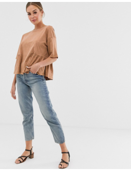 Asos Design Smock Top With Hem Detail In Wash by Asos Design