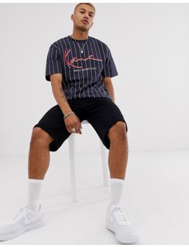 Karl Kani Signature Pinstripe Logo T Shirt In Navy by Asos