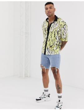 Asos Design Organic Cotton Oversized Revere Collar Button Through Polo In With All Over Zebra Print by Asos Design