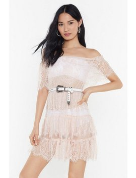 Lace To Lace Tiered Off The Shoulder Dress by Nasty Gal