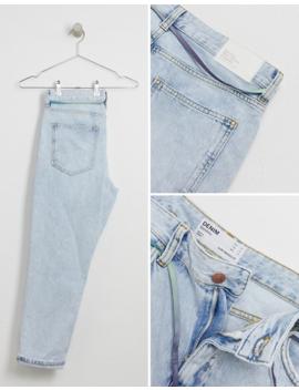 Bershka Slim Fit Cropped Jeans With Shoelace Belt In Light Blue by Bershka's
