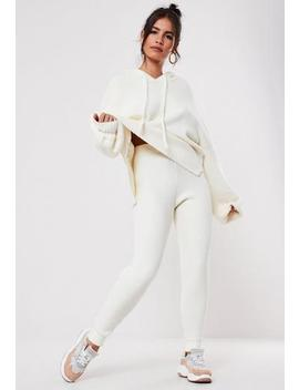 Premium White Co Ord Ribbed Joggers by Missguided