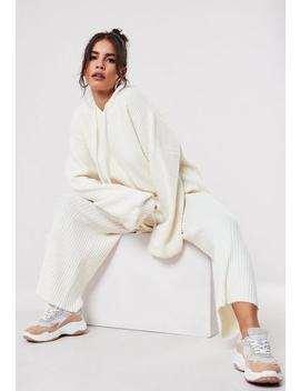 Premium White Co Ord Knitted Culotte Trousers by Missguided
