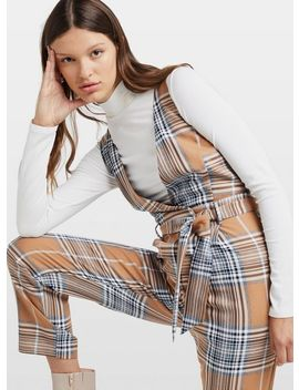 Brown Check Print Plunge Jumpsuit by Miss Selfridge