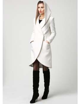 Wrap Coat, White Coat, Hooded Coat, Winter Coat, Wool Coat, Short Coat, Womens Coats, Casual Coat, Mod Clothing, Custom Made 1119# by Etsy