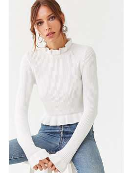 Flounce Trim Sweater by Forever 21
