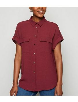 Burgundy Double Pocket Utility Shirt by New Look