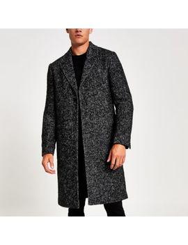 Grey Herringbone Wool Overcoat by River Island