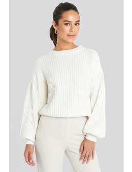Balloon Sleeve Round Neck Sweater Vit by Na Kd