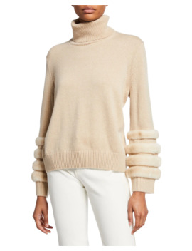Cashmere Turtleneck Sweater With Mink by Lafayette 148 New York